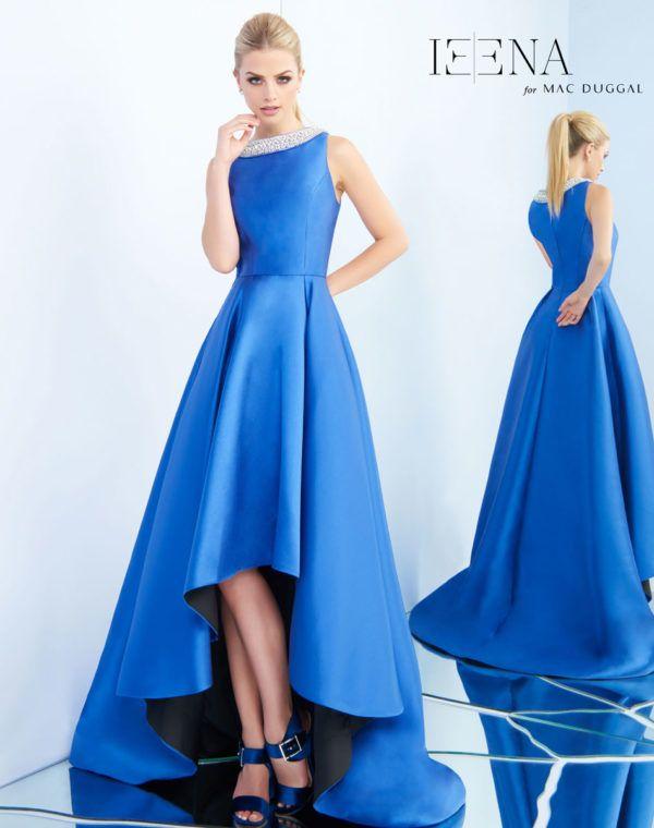 Mac Duggal Ieena Royal Blue Tea Length Dress With Beaded Neckline Ypsilon Dresses Pageant Prom Evening Wear School Dance Inspiration Homecoming