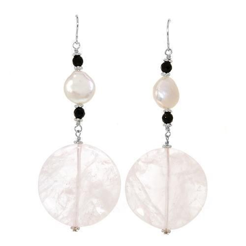 Earrings With Onyx,  Quartz And Shells