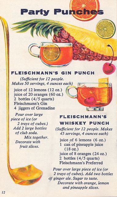 Two thirst quenching, boozy 1960s punch recipes. #vintage #1960s #food #drinks