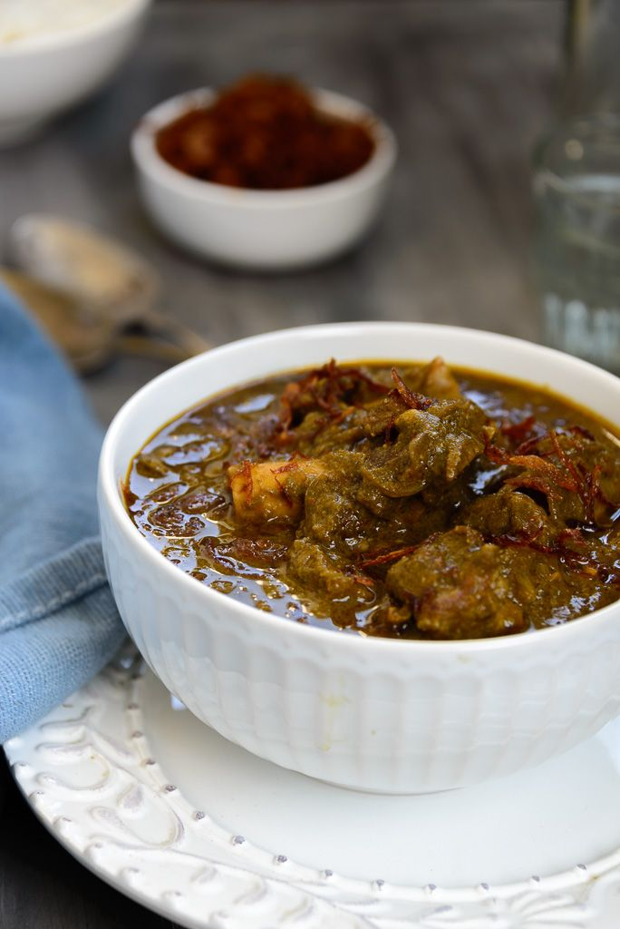 Saag Gosht. Mutton cooked with greens.