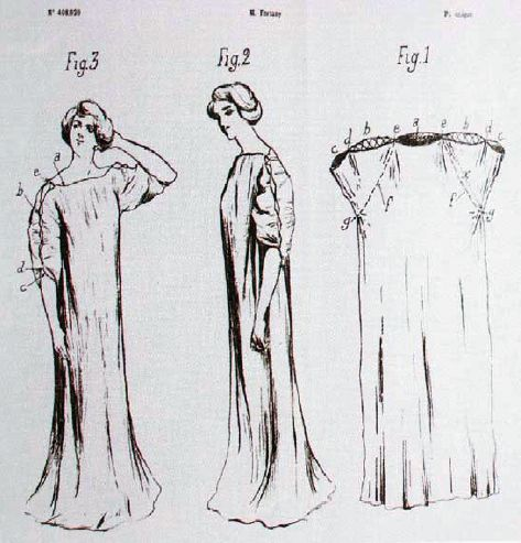1909 drawings for registration in Paris of design for gown by Fortuny