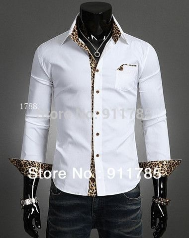 2015 new Fashion Urban  leopard Splicing long-sleeved shirts men,casual slim fit shirts for men,mens camisa,freeshipping ,M-XXL