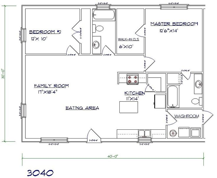 Layout for in-law quarters above garage. 1200 sq ft. (get rid of 2nd bathroom and open up second bedroom into a sunroom, craft room or office)