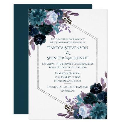 Moody Boho   Teal Dark Plum Elegant Wedding Invitation   Zazzle.com