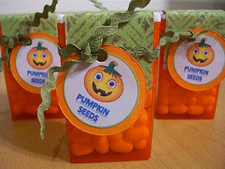 pinterest 365 day 127: pumpkin seed halloween favours, such a neat simple idea for gifting between kids!  inspiration from christy robbins blog and can't stop making things :)