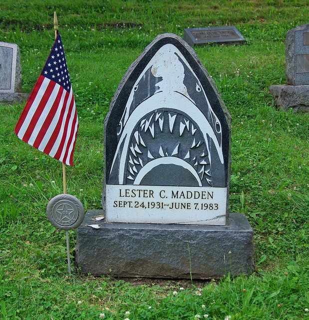 Lester C. Madden Loved Jaws an is listed (or ranked) 39 on the list The  Strangest and Most Bizarre Graves from Around the World