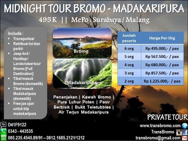 Jual beli Midnight Tour Bromo - Air Terjun Madakaripura di Lapak Huni_Raya - bromo_raya. Menjual Travel & Hiburan - Menikmati sensasi Liburan Seru ke Bromo bersama teman atau keluarga adalah pengalaman yang sangat menakjubkan. Untuk menjawab kebutuhan Paket Liburan Murah, kami memberikan penawaran Paket Bromo sekaligus ke air terjun Madakaripura. Paket Bromo yang kami tawarkan adalah paket yang paling populer dan banyak diminati oleh calon wisatawan yang ingin berwisata ke Bromo. Har...
