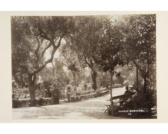 Senderos del Parque Municipal de Valparaíso, hoy Parque Italia. Fotog. Felix Leblanc Fecha fotog. c.1890 Fuente M.H.N.
