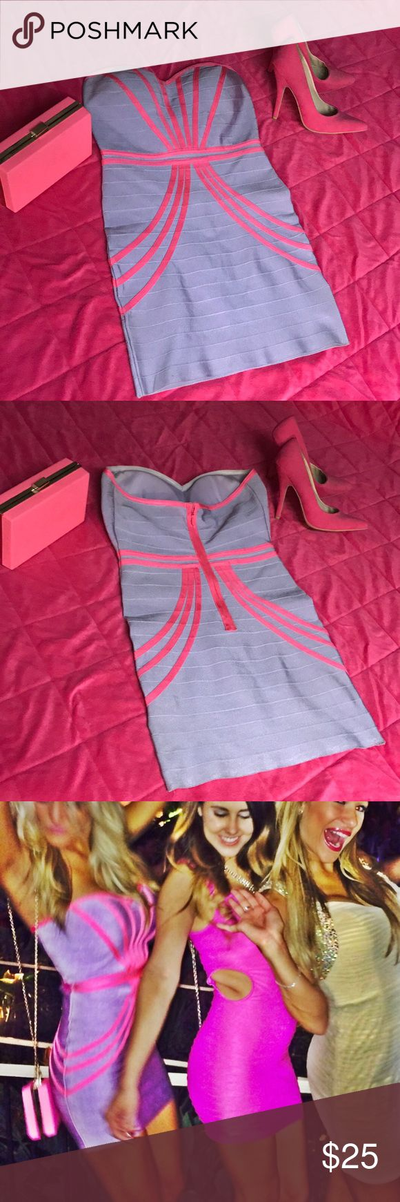 💜💕Pink & Purple bandage dress! 💜💕Pink & Purple bandage dress! Worn once! Dresses Mini