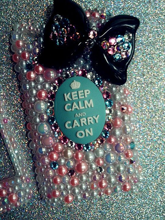 SALE--Blue Colorful Keep Calm and Carry On Swarovksi and Pearl IPod Touch 4G 4th Generation Case. $35.00, via Etsy.