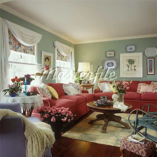 LIVING ROOM : Mixed Styles, Red Colored Sofas, Sage Green Walls With White  Trimu2026 Part 44