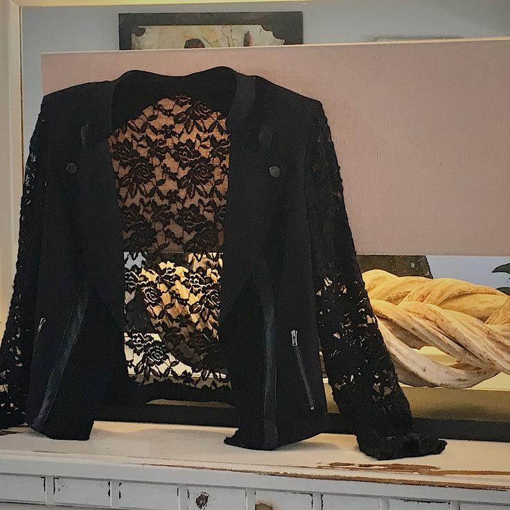 Caviar Range - Black Crop Jacket, Lace, Leather, Leisure wear, Ebony