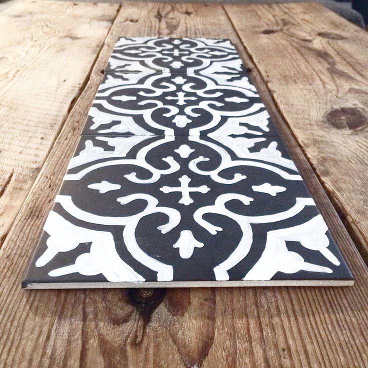 Diy tile. Handmade stamps made by Foamsheet.