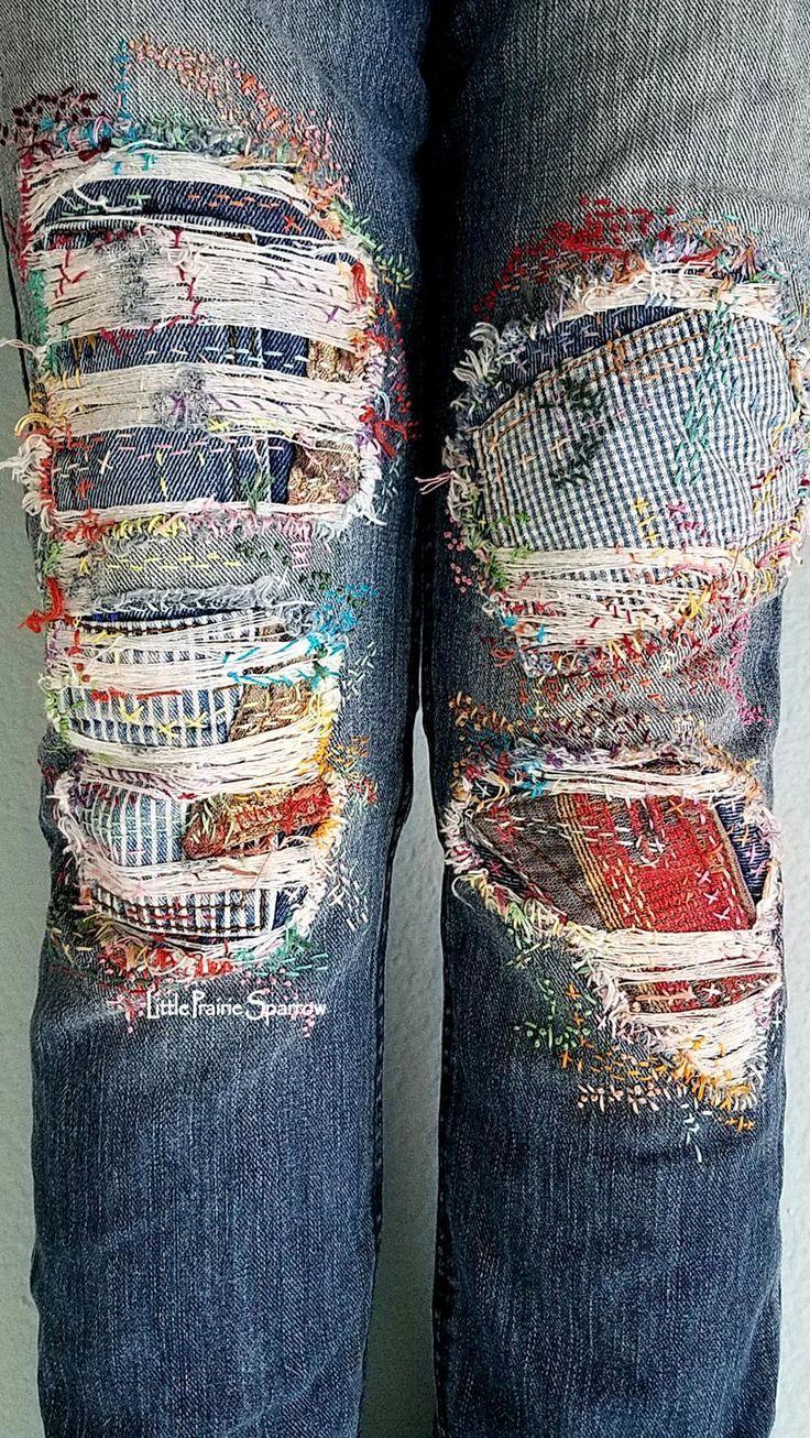 Excellent Photo Embroidery Patches patchwork Tips Boro-Stickerei Patched Jeans, Distress Girlfriend Jeans, Patchwork Denim Clothes Refashion, Diy Clothing, Redo Clothes, Jeans Refashion, Refashioned Clothes, Sweatshirt Refashion, Unique Clothing, Clothing Accessories, Boro