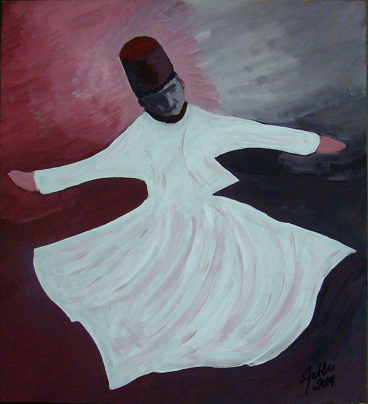 Whirling Dervish Sufi-Acrylic on hardboard; #painting #acrylic #Dervish #Sufi #mystic