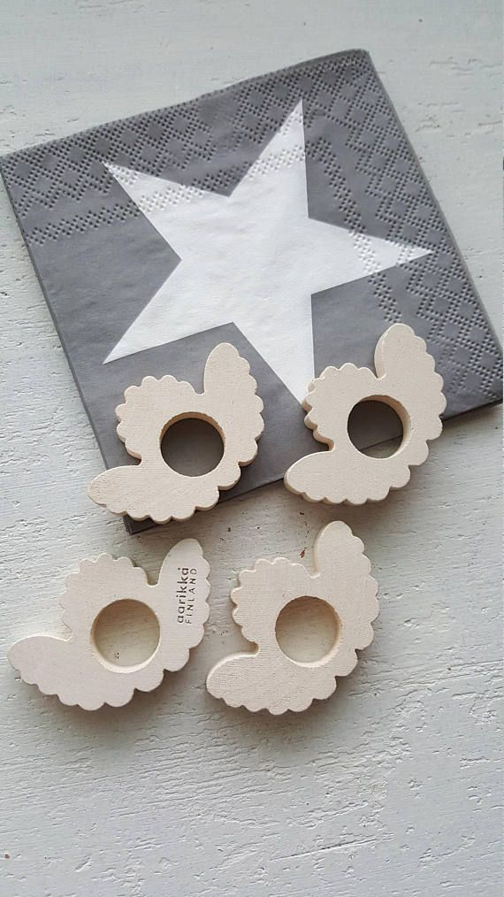 Aarikka Wooden Napkin rings Angel Shape Set of 4 Made in 90s