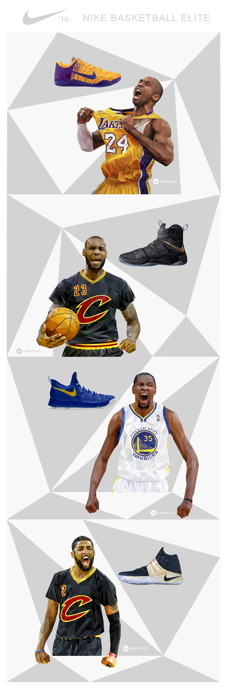 Kobe Bryant, Lebron James, Kevin Durant & Kyrie Irving Nike Elite low- poly