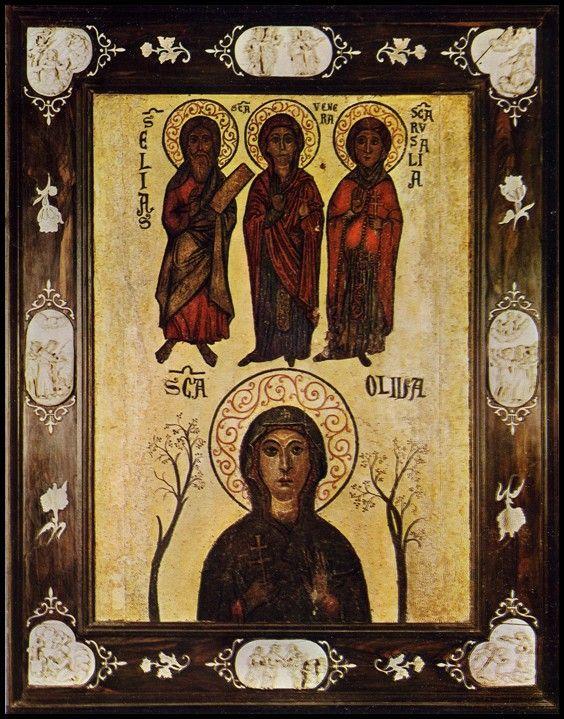 Santa Rosalia con  erctae S.Oliva  S. EliasS.Venera di Paolo Malfatti Museo Diocesano di Palermo