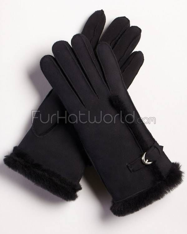 Womens Shearling Sheepskin Gloves with Buckle - Black