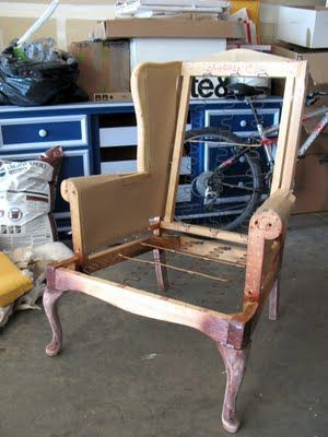 How to reupholster a wing-back chair. This'll save me a couple-hundred dollars at least! #ReupholsterChair