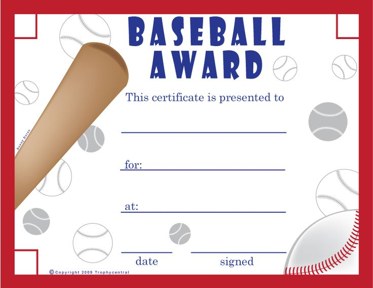 59 best certificates awards images on pinterest award free printable baseball certificates baseball certificates yadclub Images