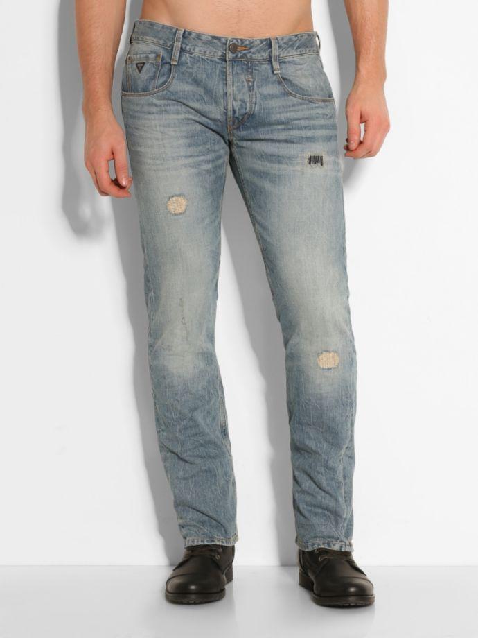 77.50EUR$  Buy here - http://vivks.justgood.pw/vig/item.php?t=mhkxi846405 - Slim Straight Bleached Lesson Denim Pant 77.50EUR$