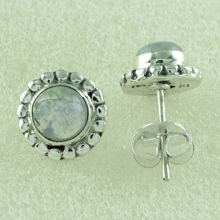 CHARMING FASHION DESIGN ROUND SHAPED RAINBOW MOON STONE 925 STERLING SILVER STUD #SilvexImagesIndiaPvtLtd #Stud