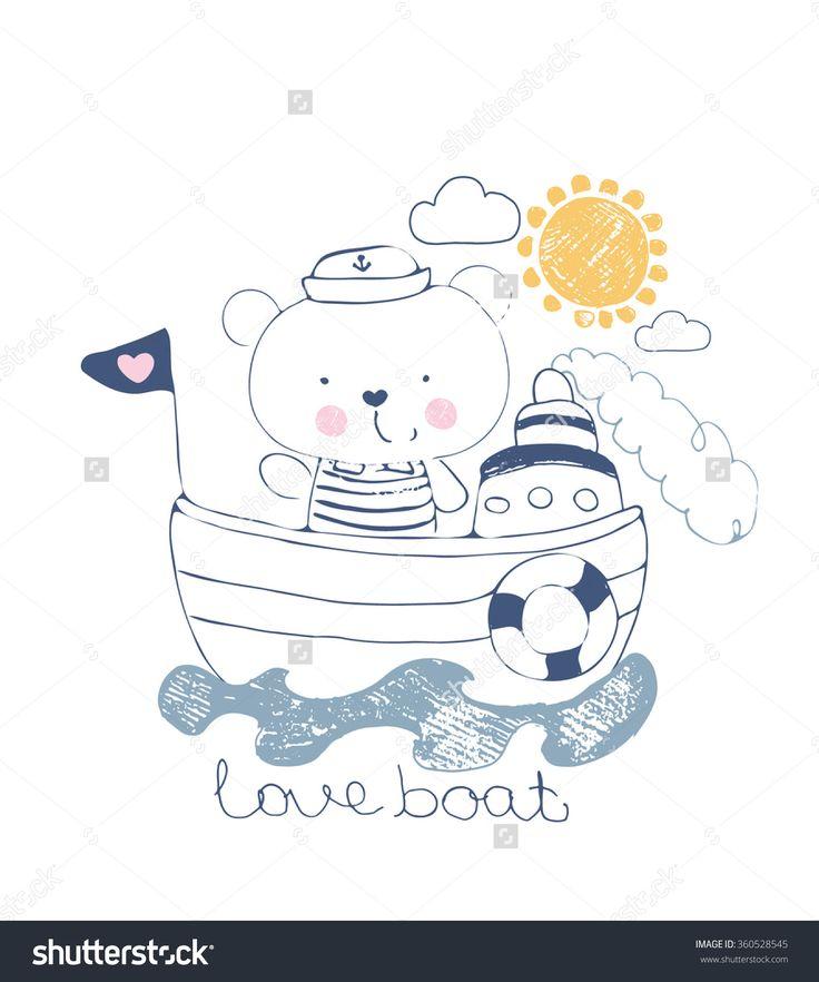 bear sailor vector illustration/ baby bear/sweet bear/cute bear/for baby's and kid's shirt design/fashion print design