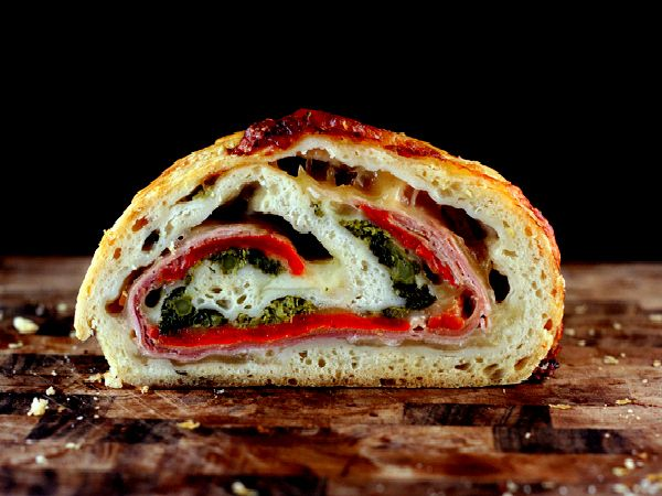 SRC-Three Cheese Broccoli Rabe, Prosciutto and Roasted Red Pepper Stromboli plus Part 16