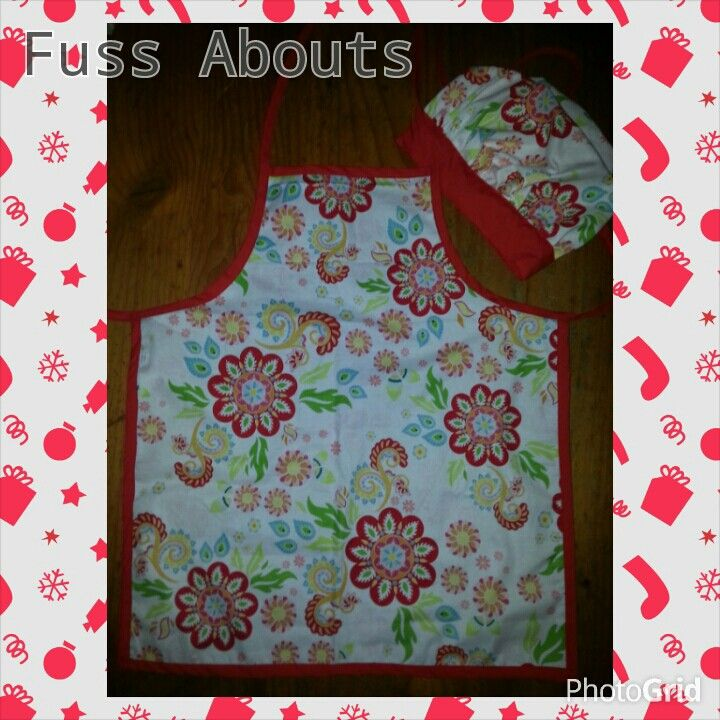 Childrens Apron with matching Chefs Hat...www.facebook.com/fussabouts
