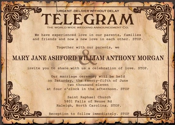 Vintage Telegram Message Wedding Invitation