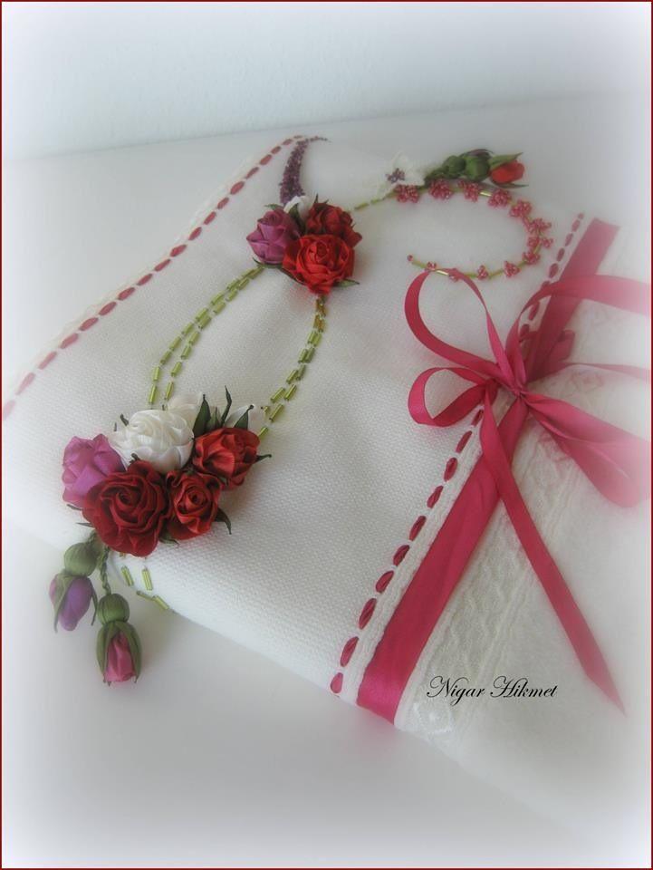 Ribbon flowers, embroidery,towel, Nigar Hikmet