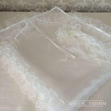 Organze Elbise Kılıfı | Ekru Fiyonklu