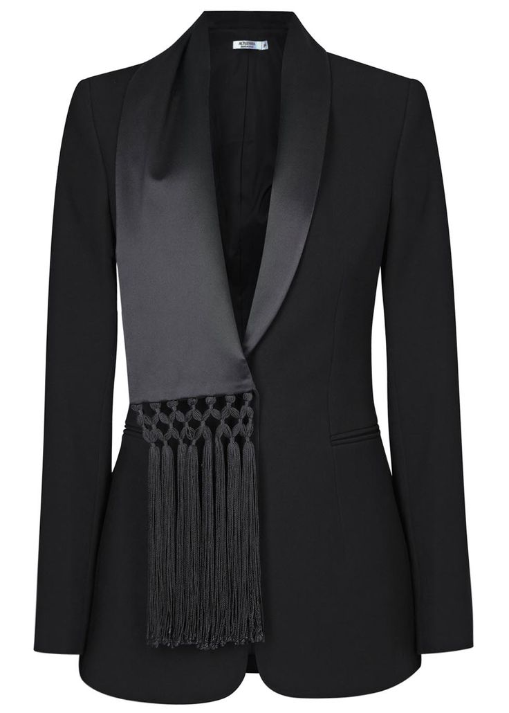 Altuzarra black crepe blazer Silk scarf lapel, padded shoulders, two front slit pockets, fully lined Button fastening front Fabric1: 100% polyester; fabric2: 100% silk; lining: 67% acetate, 33% polyester