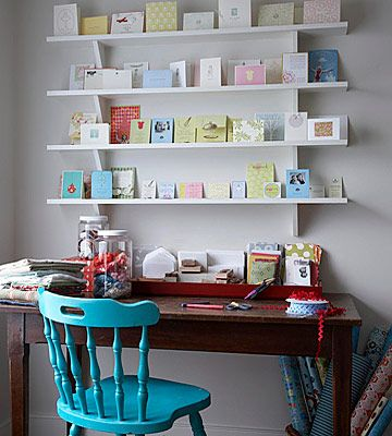 Wall space is some of the most valuable,but often overlooked, space. Pegboards, bulletin boards, shelves, and magnetic boards are just a few of the many options for using the wall for display space and inspirational ideas.