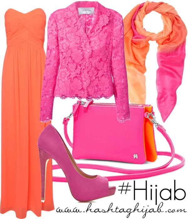 Orange and pink color combo. I like the idea of a sleeveless dress in place of a skirt.