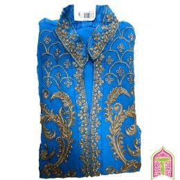 Designer Salwar Kameez Blue color Golden Embroidery Work semistitched Dress Material
