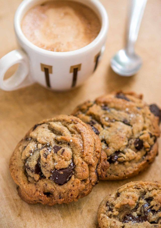 Salted Chocolate Chip Tahini Cookies - deliciously chewy, rich...and delicious!