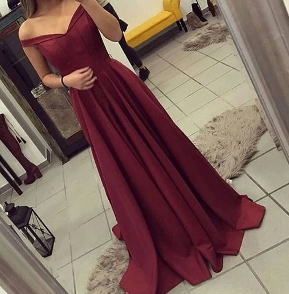 Sexy Off Shoulder Straps Prom Dress,A line Burgundy Evening Dress