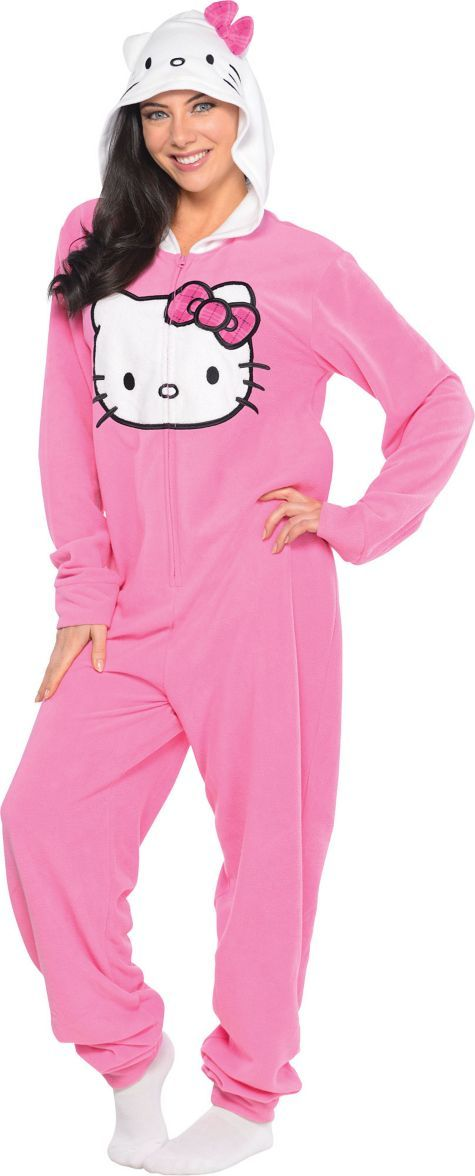 Adult Hello Kitty One Piece Pajama - Party City @Vivian Castellon Perez  this is for you!!!!!!!!!!!!!