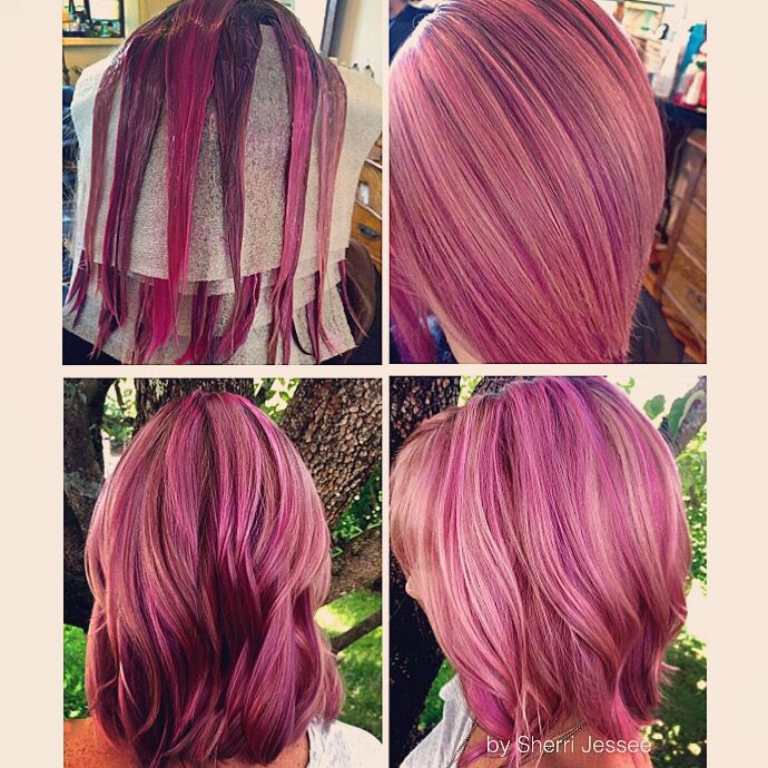 PRAVANA Chromasilk Vivids Pastel Pink, Neon Pink, and Locked-In Purple over highlighted hair. Love the dimension in this color!  By Sherri Jessee