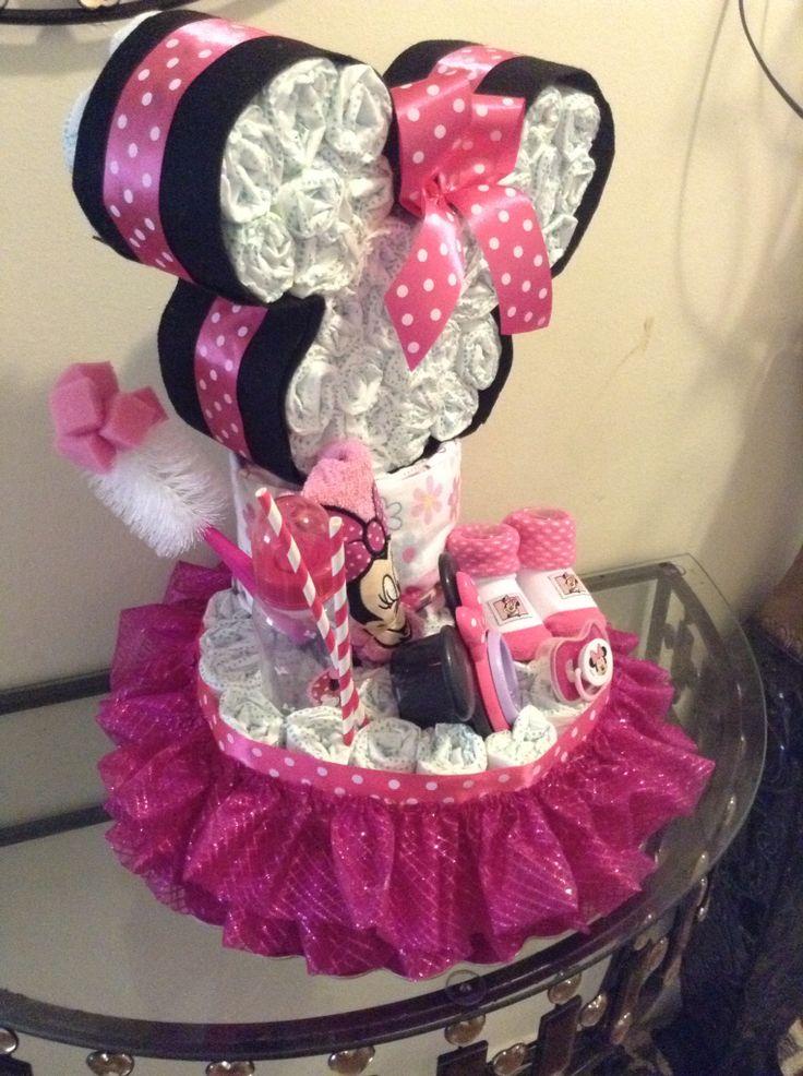 Minie Mouse Head And Tutu Diaper Cake Exquisite
