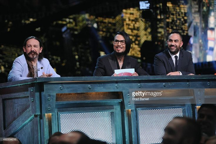 Judge Oliver Peck, host Dave Navarro and judge Chris Nunez speak onstage at Spike TV's 'Ink Master' Season 6 LIVE Finale on October 13, 2015 in New York City.