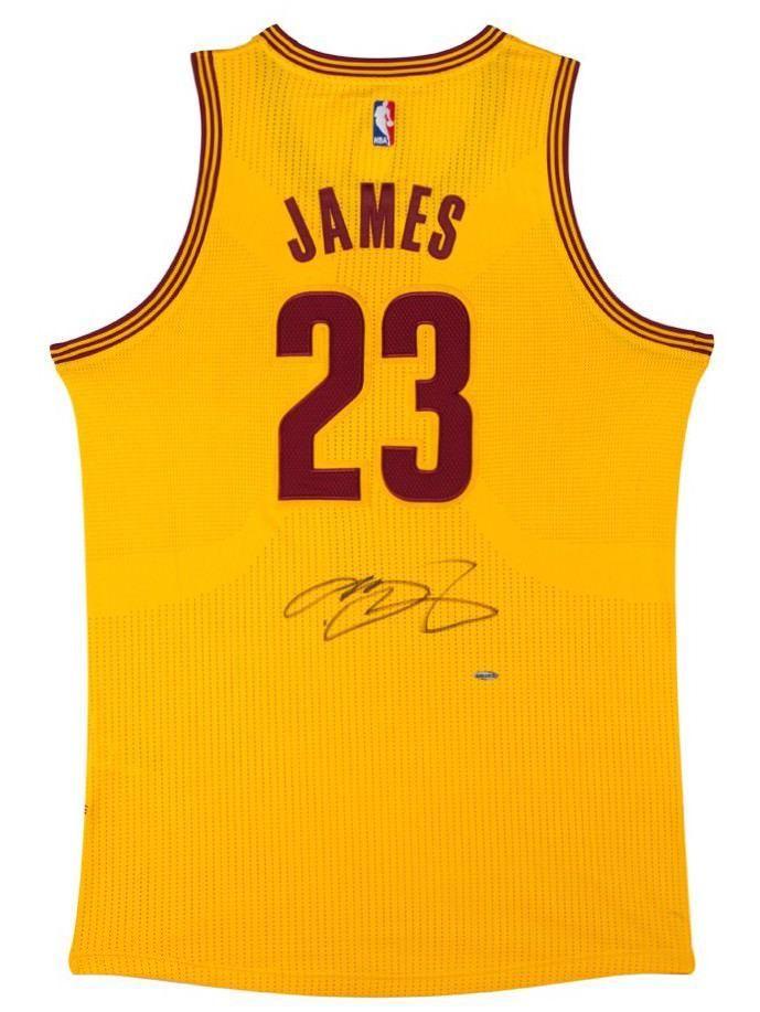 888c50798 LEBRON JAMES Autographed Cleveland Cavaliers Alternate Gold Jersey ...