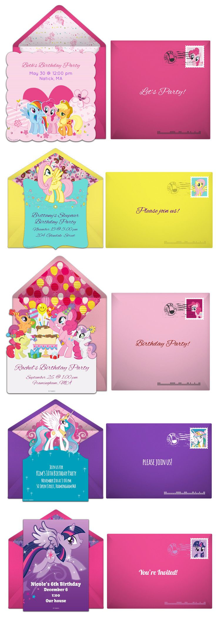 Paper invites are too formal, and emails are too casual. Get it just right with online invitations from Punchbowl. We've got everything you need for your My Little Pony party. http://www.punchbowl.com/mylittlepony/express?utm_source=Pinterest&utm_medium=10.2P