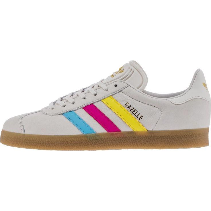 Adidas gazelle mens - white/pink/blue/yellow
