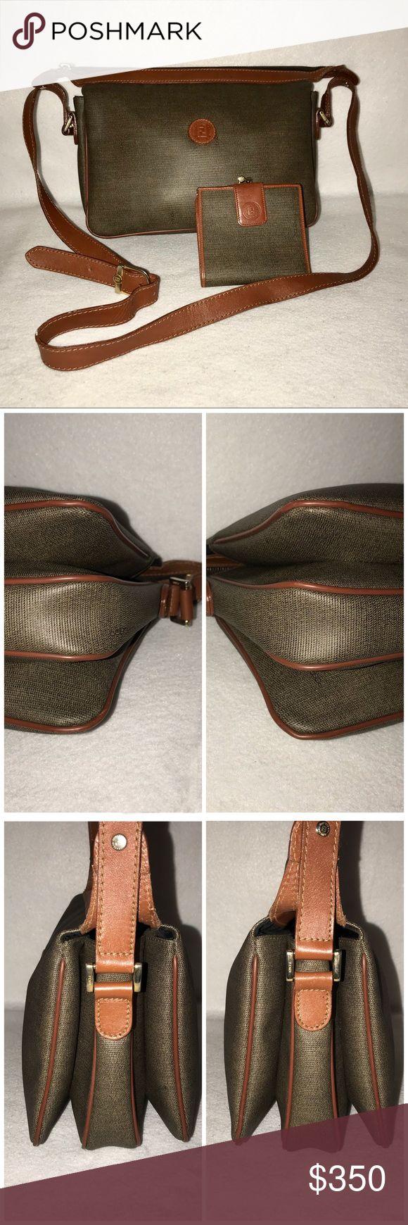 "2pc Vintage FENDI Pequin Crossbody Bag & Wallet 👉TRADE VALUE: $450👈  🌟 BOTH IN GREAT VINTAGE CONDITION Minimal wear. No damage.  Length: 12"" Height: 8"" Depth: 4"" Strap drop: 18""-22"" (adjustable) Fendi Bags Crossbody Bags"