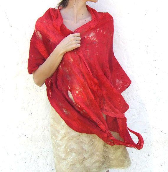 Red shawl scarf felting fire wool luxury cape wedding by Baymut, $109.00