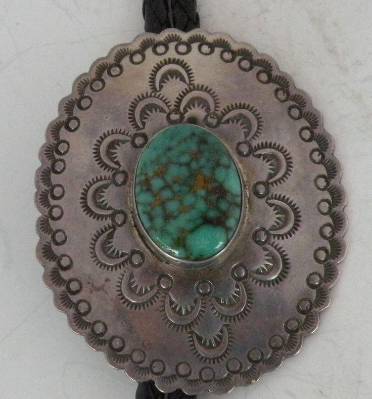 Vintage Navajo sterling silver fine spider web King's Manassa Turquoise bolo tie