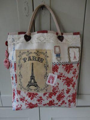 Steekjes & Kruisjes van Marijke: Paris j'taime - (up-cycled bag)